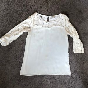 Lace sleeved ivory blouse
